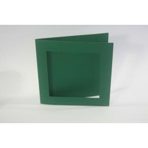 CraftEmotions linnen kaart passpartout vierk 10st kerstgroen 13,5x13,5cm 250gr / LHC-36