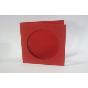 CraftEmotions linnen kaart passpartout rond 10st kerstrood 13,5x13,5cm 250gr / LHC-07