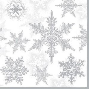 CraftEmotions servetten 5st - Sneeuwkristallen silver 33x33cm Ambiente 33303580