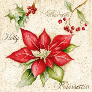 CraftEmotions servetten 5st - Poinsettia 33x33cm Ambiente 33303780