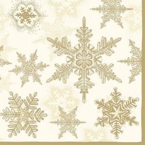 CraftEmotions servetten 5st - Sneeuwkristallen goud 33x33cm Ambiente 33303935