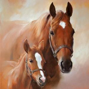 CraftEmotions servetten 5st - Paard met veulen 33x33cm Ambiente 13307350