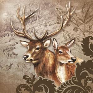 CraftEmotions servetten 5st - Herten paar bruin 33x33cm Ambiente 13307375