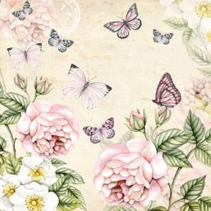 CraftEmotions servetten 5st - Botanical creme 33x33cm Ambiente 13309196