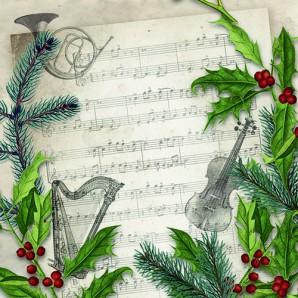 CraftEmotions servetten 5st - Kerstliedje 33x33cm Ambiente 33310860