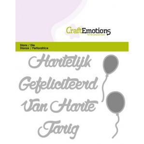 CraftEmotions Die Tekst - Hartelijk Gefeliciteerd (NL) Card 11x9cm (09-16)