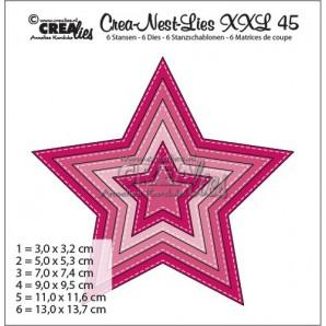 Crealies Crea-nest-dies XXL no. 45 5 punt ster met stitch max. 13,0 x 13,7 cm / XXL45 (09-16)