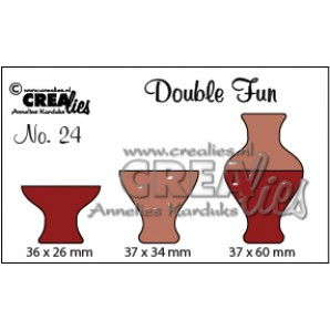 Crealies Double Fun no. 24 Vaas 3 36x26-37x34-37x60mm / CLDF24