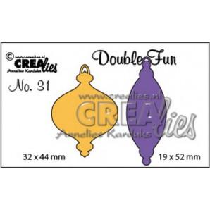 Crealies Double Fun no. 31 Kerstbal A+B dicht klein 19x52mm - 32x44 mm/ CLDF31 (09-16)