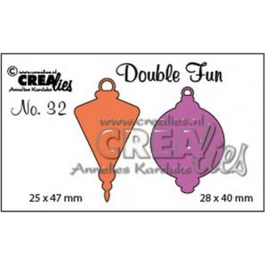 Crealies Double Fun no. 32 Kerstbal C+D dicht klein 28x40mm - 25x47 mm/ CLDF32 (09-16)