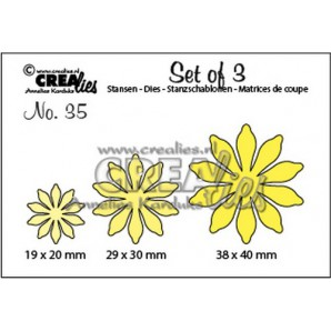 Crealies Set of 3 no. 35 Bloemen 17 38x40 - 29x30 - 19x20mm / SET35
