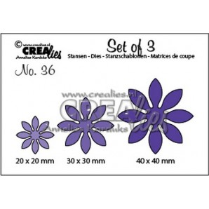 Crealies Set of 3 no. 36 Bloemen 18 40x40 - 30x30 - 20x20mm / SET36