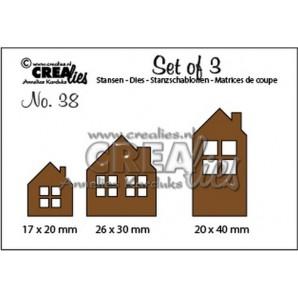 Crealies Set of 3 no. 38 Huisjes 17x20-26x30-20x40mm / CLSET38 (09-16)