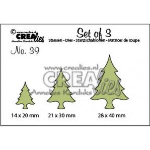 Crealies Set of 3 no. 39 Kerstbomen dun 14x20-21x30-28x40mm / CLSET39 (09-16)