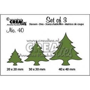 Crealies Set of 3 no. 40 Kerstbomen dik 20x20-30x30-40x40mm / CLSET40 (09-16)