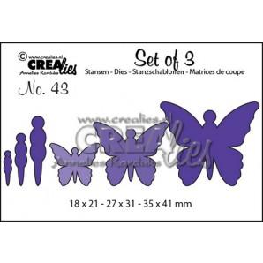 Crealies Set of 3 no. 43 Vlinders 5 18x21-27x31-35x41mm / CLSET43 (12-16)
