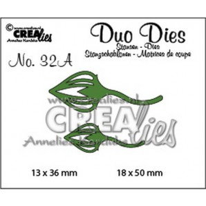 Crealies Duo Dies no. 32A blaadjes 2 spiegelbeeld 18x50mm-13x36mm / CLDD32A