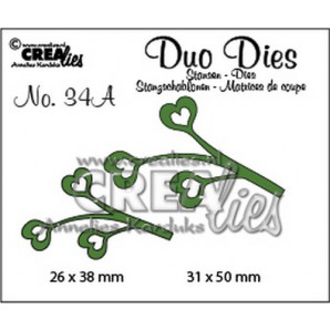 Crealies Duo Dies no. 34A blaadjes 4 spiegelbeeld 31x50mm-26x38mm / CLDD34A