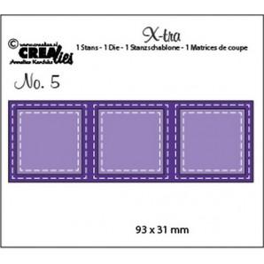 Crealies Fold Open Die 3 vierkanten double stitch 93 x 31mm / Xtra05