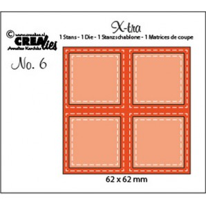 Crealies Fold Open Die 4 vierkanten double stitch 62 x 62 mm / Xtra06