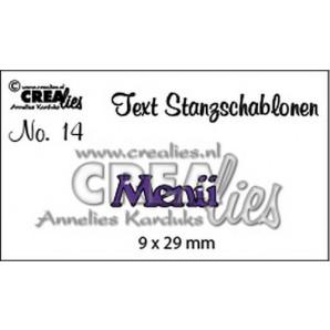 Crealies Tekststans (DE) nr 14 Menü 9x29 mm  / CLTSS14