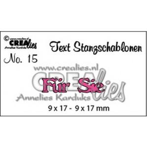 Crealies Tekststans (DE) nr 15 Für Sie 9x17 - 9x17 mm  / CLTSS15