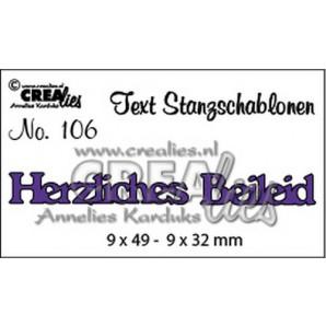 Crealies Tekststans (DE) nr 106 Herzliches Beileid 9x49 - 9x32 mm  / CLTSS106