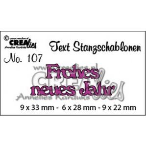 Crealies Tekststans (DE) nr 107 Frohes neues Jahr 9x33-6x28-9x22mm  / CLTSS107