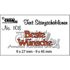 Crealies Tekststans (DE) nr 108  Beste Wünsche 9x27-9x45mm  / CLTSS108