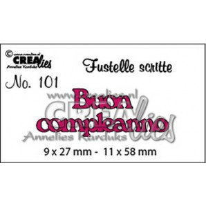 Crealies Tekststans (IT) nr 101  Buon compleanno 9x27-11x58mm  / CLFS101