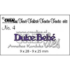 Crealies Tekststans (ES) nr 4  Dulce Bebé 9x28-9x25mm  / CLES04