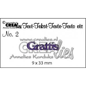 Crealies Tekststans (SW) nr 01  Grattis 9x22-9x15mm  / CLSE01