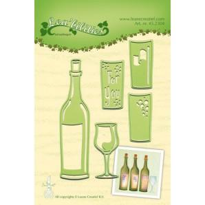 LeCrea - Lea'bilitie Wine bottle & glass snij en embossing mal 45.2304 (08-16)