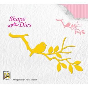 Nellies Choice Shape Die - vogel op tak SD106