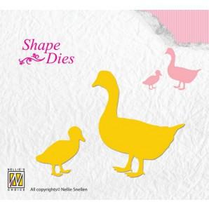 Nellies Choice Shape Die - gans met jong SD110