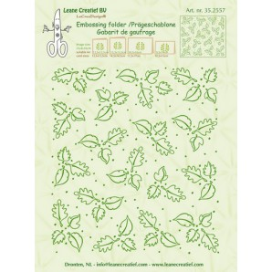 LeCrea - Border embossing folder background Leaves 35.2557 (08-16) 14,4x16cm