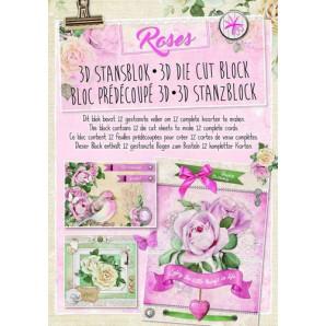 Studio Light Die cut blocs A4 12 vel Roses 27 STANSBLOKRO27