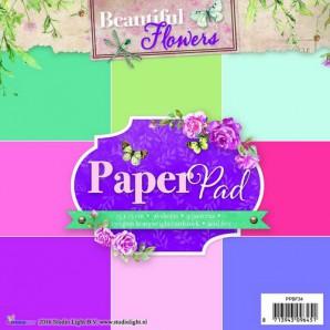 Studio Light Paper pad 36 vel 12 designs Beautiful Flowers nr 34 PPSL34 15x15cm (05-2016)