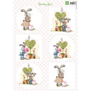 Marianne D 3D Knipvellen Bunny love 1 VK9551 A4 (01-17)