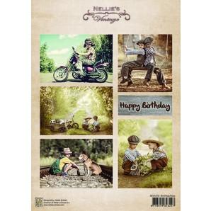 Nellie's Choice Decoupage knipvel Vintage Birthday boys A4 - NEVI070