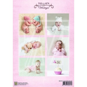 Nellie's Choice Decoupage knipvel Vintage baby - sweet baby girl A4 - NEVI075 (01-17)