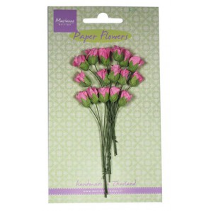 Paper Flowers Roses Bud bright pink