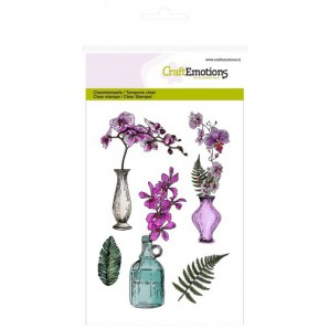 Clear Stamp Orchidee, vazen en fles A6