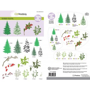 CraftEmotions Step clearstamps A5 - kerstbomen, takken  Christmas Nature (07-16)