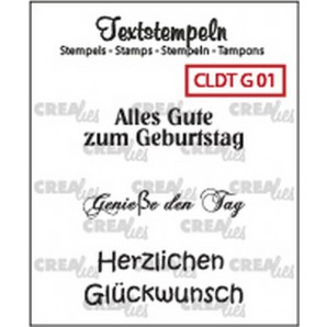 Crealies Clearstamp Tekst (DE) Geburtstag 01 max 33mm  / CLDTG01 (10-16)