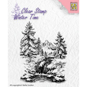 Nellie's Choice Clearstamp - Winter Time Winter waterval WT004 (08-16)