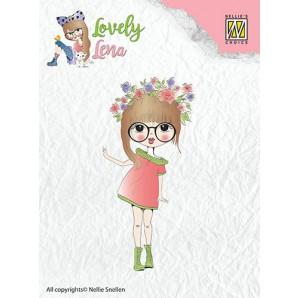 Nellies Choice Clearstempel - Lena met bloemenkrans CSLL004