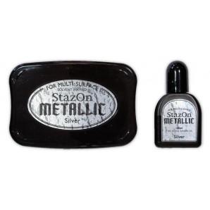 Stazon stempelkussen metallic zilver