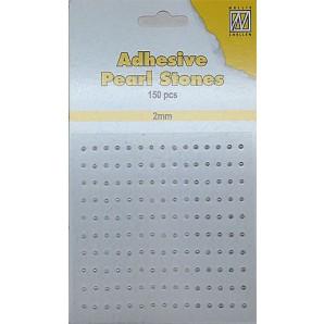 Plakparels / Adhesive gems wit ivoor 2mm
