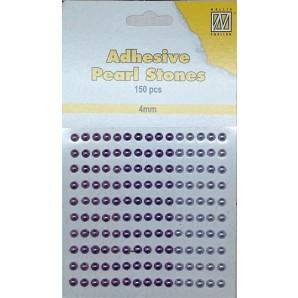 Plakparels / Adhesive gems lila  paars 4 mm